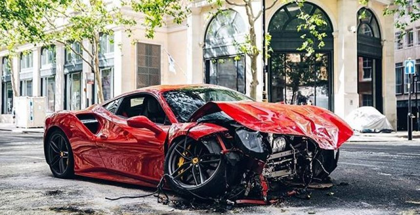 Posted @withregram • @tfjj 488 obliterated this afternoon in London by rapper @swarmz_. Driver and passenger thankfully both unharmed but car sustained quite some damage after a collision with a bus |