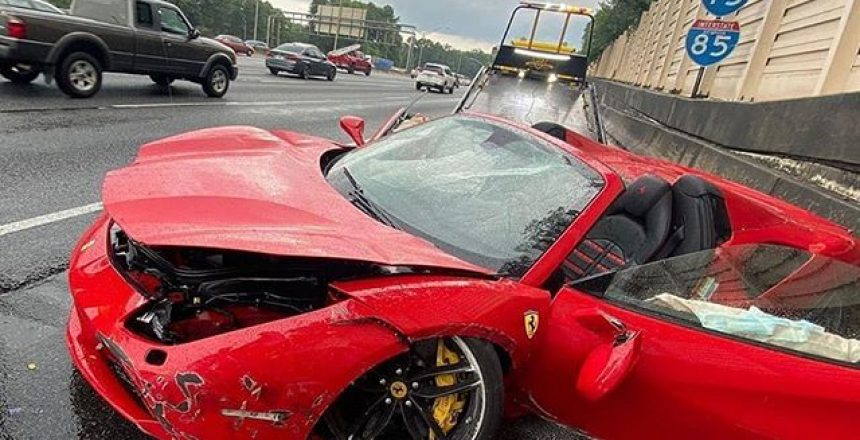 Posted @withregram • @supercar.fails @lilyachty Crashed his Ferrari 488 today after hydroplaning on the freeway in Atlanta, Georgia.  Thankfully no injuries reported.