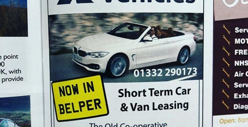Our advert in edition! If you are looking for a short term lease vehicle! Give us a call! @belperdirectory @businessbelper
