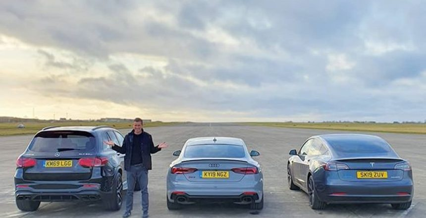Which will win this drag race? Tesla Model 3, Audi RS5 SB or Mercedes-AMG GLC63S? Guess below then watch the video on carwow by swiping up in my story! Reposted from @matwatsoncars