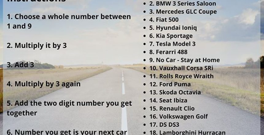 Bit of fun... Use our next car calculator and see what you could be driving tomorrow... Let us know what number you got in the comments below and then let us know your preferred choice... If you like it, give it a share!